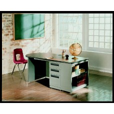 Desk Steel Perpetual Enterprises Educational Desk Double Pedestal 30X72 Specify Top And Frame Colors