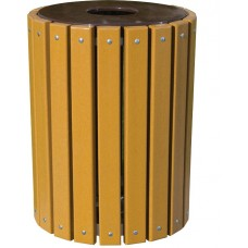 Trash Receptacle - Round - W-Flat Top And Plastic Liner
