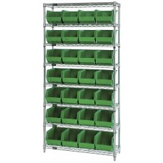 8 Shelf 12Wx36Lx74H Unit With 28 10-3/4 Lx8-1/4Wx7 H Bins - Specify Color