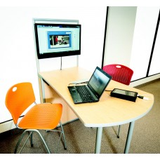 Genius Meeting Table  Flare Top 36''W Overall X 54''D X 72''H With Dropshare Media Center 2 Users Hdmi Specify Color