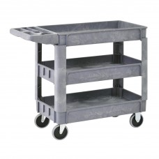 Utility Cart 3 Shelf Plastic 40W X 17D X 33H Gray