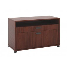 Basyx By Hon Manage File Center - 1 Open Shelf / 1 Pencil Drawer / 1  Lateral Drawer - 36''W X 16''D X 22''H - Chestnut Finish