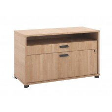 Basyx By Hon Manage File Center - 1 Open Shelf / 1 Pencil Drawer / 1  Lateral Drawer - 36''W X 16''D X 22''H - Wheat Finish