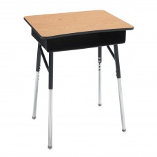 Desk - Cs Traditional A+ Open Front - 20X26 Laminate Top W/Black Lockedge - 22.5 - 33.5 Adj Height - Black Upper - Chrome Insert - Black Book Box - Specify Top Color