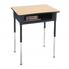 Desk - Cs Contemporary Open Front - 18X24 Laminate Top W/ Black Lockedge - 22 - 31 Adj Height - Black Upper - Chrome Insert - Specify Top Color - Specify Book Box Color