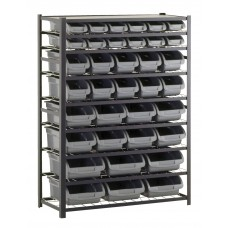 Bin Shelving 36 Gray Bins In Asst Sizes Black Frame