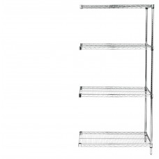 Four Shelf Wire Shelving Unit 63 Tall 18X48X63 Adder- Select Finish