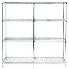 Four Shelf Wire Shelving Unit 63 Tall 18X60X63 Starter- Select Finish