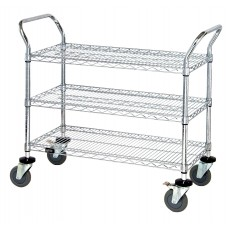 Three Shelf Wire Utility Cart 39 Tall 24X42X39 - Chrome Finish