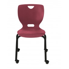 Chair - Cs Neoclass Four Leg With Casters - Soft Plastic Shell 16 - Black Powdercoat Frame - Specify Shell Color