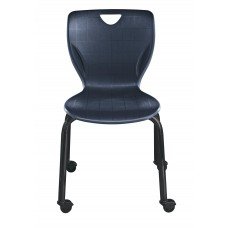 Chair - Cs Contemporary Four Leg With Casters - Soft Plastic Shell 16 - Black Powdercoat Frame - Specify Shell Color