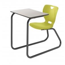 Desk - Cs Neoclass Sled Base Combination - 20 X 26 Laminate Top W/ Black Lockedge - Soft Plastic Shell 18 A+ -  Black Powdercoat Frame - Specify Top Color - Specify Shell Color
