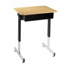 Desk - Royal 1600 Open Front - 18 X 24 Hard Plastic Top - Black Powedercoat Frame - 23 1/2 - 35 1/2 Adj Pedestal Base - Specify Top Color