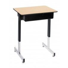 Desk - Royal 1600 Open Front - 18 X 24 Laminate Top W/Black T-Mold Edge - Black Powedercoat Frame - 23 1/2 - 35 1/2 Adj Pedestal Base - Specify Top Color