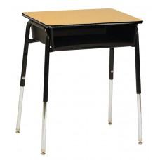 Desk - Royal 1600 Open Front - 18 X 24 Laminate Top W/Black Lockedge - 22.5 - 30.5 Adj Height - Black Plastic Bookbox - Black Four Leg Frame - Specify Top Color