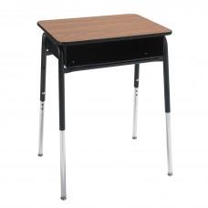 Desk - Royal 1600 A+ Open Front - 20 X 26 Laminate Top W/Black Lockedge - Metal Bookbox - 22.5 -33.5 Adj Height - Black Four Leg Frame - Specify Top Color