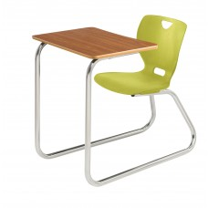 Desk - Cs Neoclass Sled Base Combination - 20 X 26 Laminate  Top - Soft Plastic Shell 18 - Chrome Frame - No Glides - Specify Top Color - Specify Shell Color
