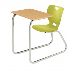 Desk - Cs Neoclass Sled Base Combination - 20 X 26 Hard Plastic  Top - Soft Plastic Shell 18 A+ - Chrome Frame - No Glides - Specify Top Color - Specify Shell Color