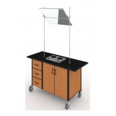 Sheerline Mobile Cooking Demonstrator - With Mirror And Range - Locking Steel Body Drawers - Locking Storage 1 Adjustable Shelf 60W X 23D X 34H - Specify Color