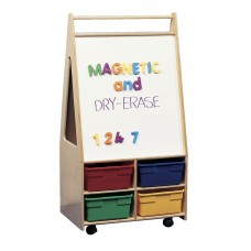 Kit Easel Magnetic/Dry Erase Dbl-Sided Mobile With Multi-Colored Storage Boxes