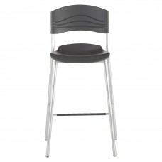 Chair 30In H Black Poly Shell Steel Frame