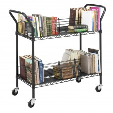 Wire Book Cart Double Sided 34''X19-1/4''X40-1/2'' Black