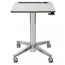 Desk-Student-Ergotron Learnfit Sit-Stand 24W X 22D Adjustable Height 29-45 Inches - White Surface - Silver Base