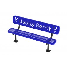Bench - 8' Buddy Bench Logo W/Back, 2''X12'' Planks, Perforated - Specify Surface Mount And Color