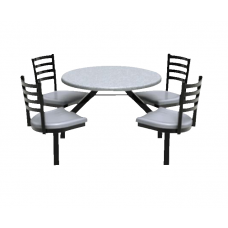 Outdoor Seating - 4 Seats - Glides - Specify Fiberglass Color - Specify Frame Color