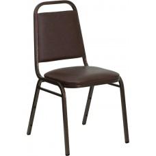 HERCULES Series Trapezoidal Back Stacking Banquet Chair in Brown Vinyl - Copper Vein Frame [FD-BHF-2-BN-GG]
