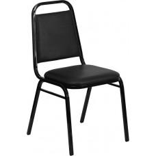 HERCULES Series Trapezoidal Back Stacking Banquet Chair in Black Vinyl - Black Frame [FD-BHF-2-GG]