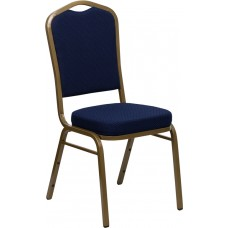 HERCULES Series Crown Back Stacking Banquet Chair in Navy Blue Patterned Fabric - Gold Frame [FD-C01-ALLGOLD-2056-GG]