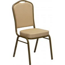 HERCULES Series Crown Back Stacking Banquet Chair in Beige Patterned Fabric - Gold Frame [FD-C01-ALLGOLD-H20124E-GG]