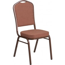 HERCULES Series Crown Back Stacking Banquet Chair in Brown Fabric - Copper Vein Frame [FD-C01-COP-1-GG]