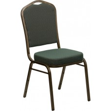 HERCULES Series Crown Back Stacking Banquet Chair in Green Patterned Fabric - Gold Vein Frame [FD-C01-GOLDVEIN-0640-GG]