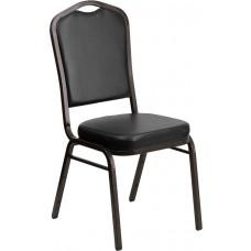 HERCULES Series Crown Back Stacking Banquet Chair in Black Vinyl - Gold Vein Frame [FD-C01-GOLDVEIN-BK-VY-GG]