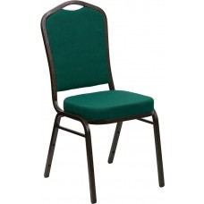 HERCULES Series Crown Back Stacking Banquet Chair in Green Fabric - Gold Vein Frame [FD-C01-GOLDVEIN-GN-GG]