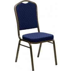HERCULES Series Crown Back Stacking Banquet Chair in Navy Blue Dot Patterned Fabric - Gold Vein Frame [FD-C01-GOLDVEIN-S0810-GG]