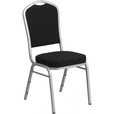 HERCULES Series Crown Back Stacking Banquet Chair in Black Fabric - Silver Frame [FD-C01-S-11-GG]
