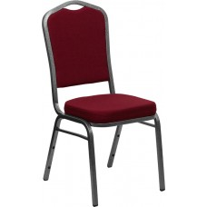 HERCULES Series Crown Back Stacking Banquet Chair in Burgundy Fabric - Silver Vein Frame [FD-C01-SILVERVEIN-3169-GG]