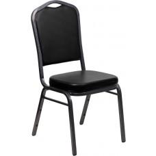 HERCULES Series Crown Back Stacking Banquet Chair in Black Vinyl - Silver Vein Frame [FD-C01-SILVERVEIN-BK-VY-GG]