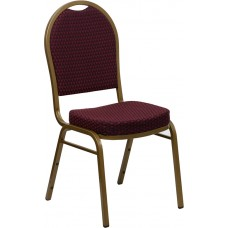 HERCULES Series Dome Back Stacking Banquet Chair in Burgundy Patterned Fabric - Gold Frame [FD-C03-ALLGOLD-EFE1679-GG]