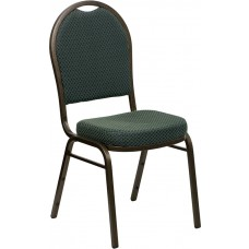 HERCULES Series Dome Back Stacking Banquet Chair in Green Patterned Fabric - Gold Vein Frame [FD-C03-GOLDVEIN-4003-GG]