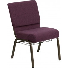 HERCULES Series 21''W Church Chair in Plum Fabric with Cup Book Rack - Gold Vein Frame [FD-CH0221-4-GV-005-BAS-GG]