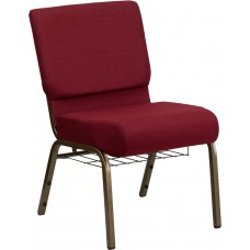 HERCULES Series 21''W Church Chair in Burgundy Fabric with Cup Book Rack - Gold Vein Frame [FD-CH0221-4-GV-3169-BAS-GG]