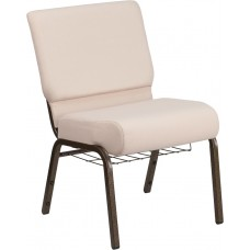 HERCULES Series 21''W Church Chair in Beige Fabric with Cup Book Rack - Gold Vein Frame [FD-CH0221-4-GV-B2-BAS-GG]