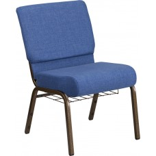 HERCULES Series 21''W Church Chair in Blue Fabric with Cup Book Rack - Gold Vein Frame [FD-CH0221-4-GV-BLUE-BAS-GG]