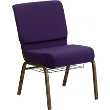 HERCULES Series 21''W Church Chair in Royal Purple Fabric with Cup Book Rack - Gold Vein Frame [FD-CH0221-4-GV-ROY-BAS-GG]