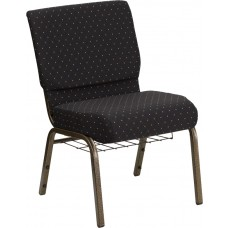 HERCULES Series 21''W Church Chair in Black Dot Patterned Fabric with Cup Book Rack - Gold Vein Frame [FD-CH0221-4-GV-S0806-BAS-GG]