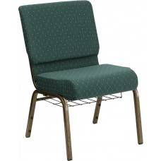 HERCULES Series 21''W Church Chair in Hunter Green Dot Patterned Fabric with Book Rack - Gold Vein Frame [FD-CH0221-4-GV-S0808-BAS-GG]
